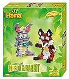Hama Hama-3D Rabbit & Fox Perles à Repasser, 3247, Multicolore, Taille Unique