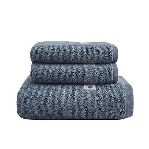ZRJ para el Hogar Pack de 3 Toallas de Baño Toallas de Secado Rápido Algodón Suave Toalla de Mano de Fundido de Baño Resistente del Hotel Piscina Gimnasio (Color : Blue)