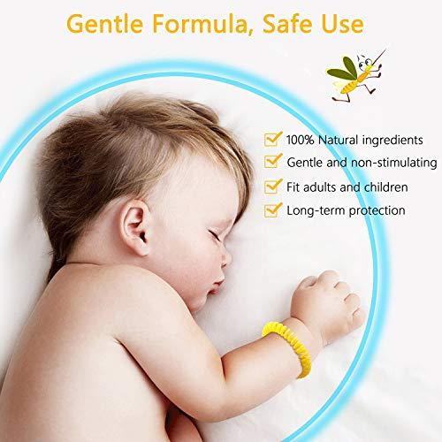 Gritin Bracelet Anti-Moustique [Lot de 10], Bracelets Anti-Moustiques Naturel- 100% Huile Essentielle – Résiste à l'eau - 250h Protection Intérieure et Extérieure pour Enfants et Adultes