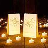 AceList Led Luminary Bags + Flameless Candles Set, 30 Lumanaries Bags with 30 Flameless Tealights, Outdoor Luminaries for Wedding, Birthday, Party, Christmas