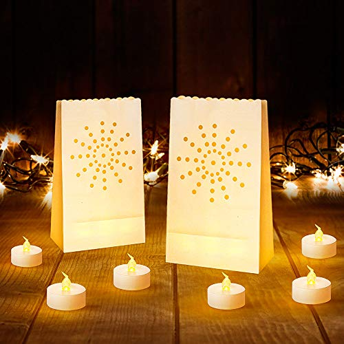 Led Luminary Bags + Flameless Candles Set, 30 Lumanaries Bags with 30 Flameless Tealights, Outdoor Luminaries for Wedding, Birthday, Party, Christmas