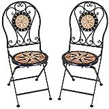Deuba Set de 2 Sillas Mosaico »Pamplona« Asiento de cerámica Plegables 36x45x93cm para balcón jardín terraza Patio