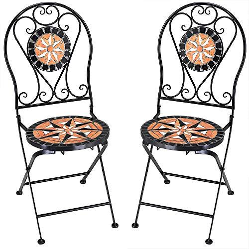 Deuba Mosaikstühle Pamplona 2er Set Klappbar Sitzhöhe 45cm Metall Stabil Gartenstühle Klappstühle Balkonstühle