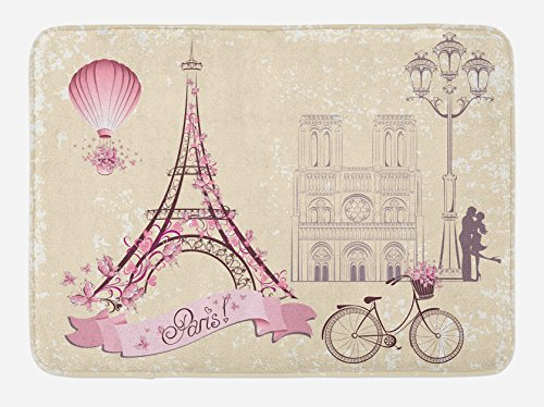 "Ambesonne Kiss Bath Mat, Floral Pariss Landmarks Eiffel Tower Hot Air Balloon Bicycle Romantic Couple, Plush Bathroom Decor Mat with Non Slip Backing, 29.5"" X 17.5"", Ivory Pink"
