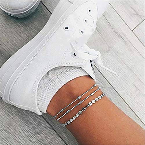 Weryffe 3 Pcs Vintage Silver Anklet Bohemia Beads Ankle Bracelet Layered Sequin...