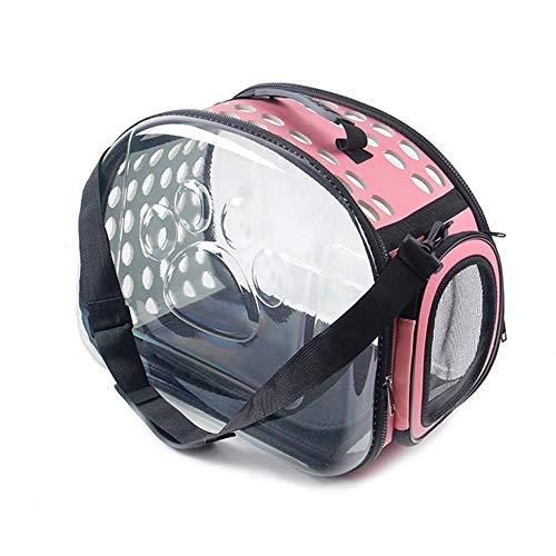 *WTTFF* Haustierrucksack, transparente Tasche, Hundekäfig, atmungsaktiver Katzenrucksack, Pink, Zwei Größen zur Auswahl,Rosa,L42X28X32