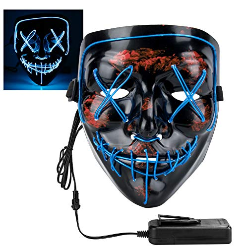 XDDIAS Maschera di Halloween, LED Grimace Horror Glowing Mask per Adulti Giocattoli con 4 modalità Flash per Feste Cosplay Costume di Halloween (Blu)