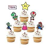 18pcs Super Mario Bros Cupcake Toppers - Game Party Glitter Mario Luigi Cupcake Supplies - Boys Girls Birthday Party Dessert Picks Decorations