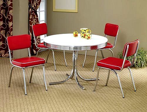 Where To Buy 5pcs Retro White Round Dining Table 4 Red Chairs Set