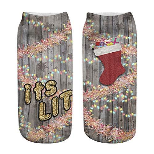 LILICAT Weihnachtssocken Weihnachten Socks lustigen Motiven Print Socken Weihnachten Motivsocken Bequem Warm Socken Halbsocken Strümpfe Casual Sportsocken Damen Herren