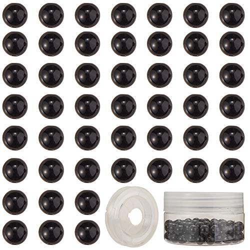 SUNNYCLUE 1 Scatola 100 Pezzi di Perline di Pietra Naturale Pietre Preziose Semipreziose Perline Sciolte Rotonde 8mm Pietre Vere Autentiche con Filo di Cristallo Elastico, Perle di Ossidiana Nera