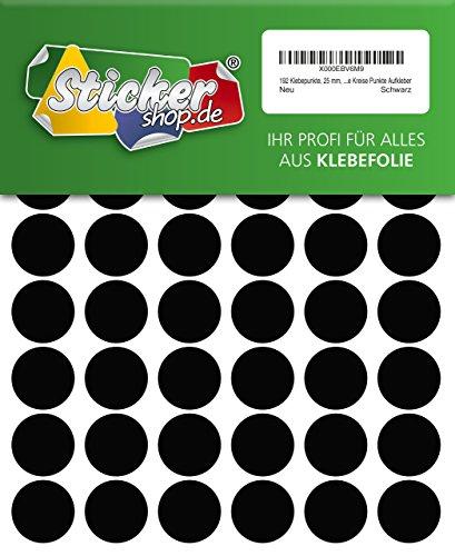 192 Klebepunkte, 25 mm, schwarz, aus PVC Folie, wetterfest, Markierungspunkte Kreise Punkte Aufkleber