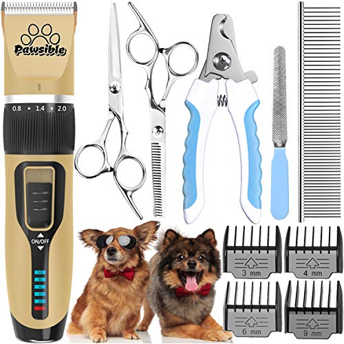 Pawsible Dog Clippers for Grooming Cordless Dog Grooming Clippers with Battery Indicator, Dog Grooming Kit with Dog Trimmer - Rechargeable Pet Clippers for Dogs and Cats