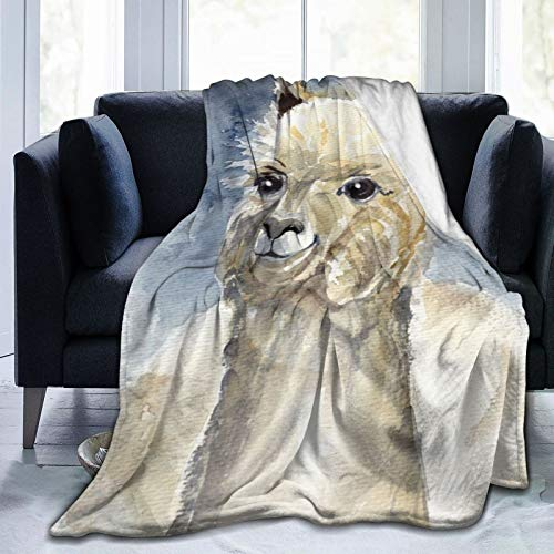 Feartdiy Watercolor Llama Alpaca Blanket for Kids Adults Women,Soft Fleece Throw Blanket Cozy Bed Blankets King Size for Couch Bed Travel Camping 80'X60'