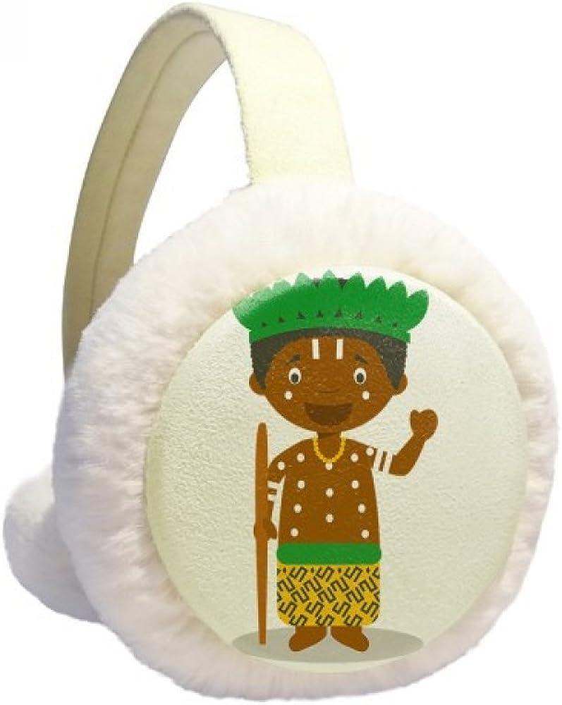 Black Wild Congo Cartoon Winter Ear Warmer Cable Knit Furry Fleece Earmuff Outdoor