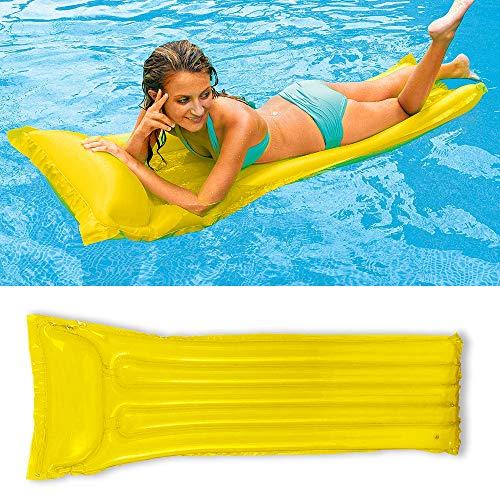CINSEY Cama inflable, hamaca de agua 4 en 1, tumbona para piscina, piscina inflable, colchón de aire, hamaca para adultos, cama de natación para verano, color amarillo
