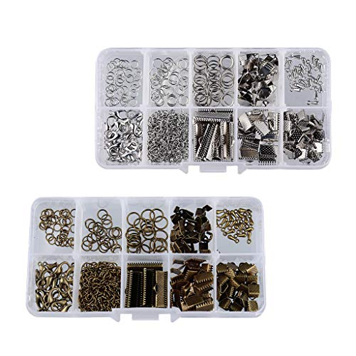 F Fityle 400 Pieces Jewelry Making Starter Kit Open Jump Rings Webbing Closure with Carabiner