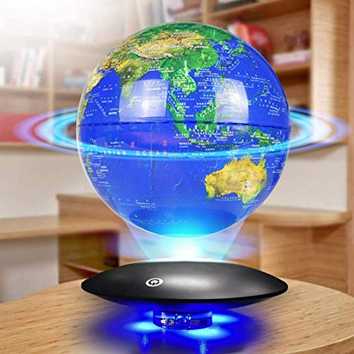 QXXZ 8in Mapamundi Magnético 3D Levitación Globo Terráqueo con Rotación y Luces de LED,para Aprender Enseñanza Demostración Casa y Escritorio Decoración Regalo Creativo (Azul)