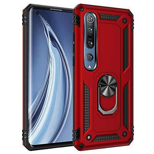 Custodia per cellulare Xiaomi Mi 10 5G doppio strato in silicone Bumper Case con rotazione a 360 gradi Ring Holder Protettore Armor Cover [Protezione contro cadute rinforzata] (Rosso)