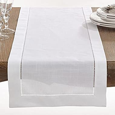 Fennco Styles 1-piece Rochester Collection Hemstitched Border Home Decor Table Runner,16 x90 , White