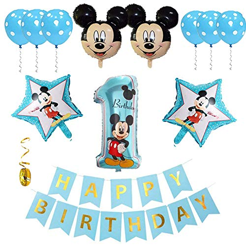 Palloncini Party Mickey, Palloncino Decorazioni Decorazioni per Feste a Tema Topolino Palloncino Compleanno Numero 1 per Feste Tema di Compleanno Baby Shower Decorazioni