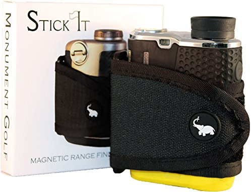STICKIT Magnetic Rangefinder Strap | Classic Series, Black | Nylon Strap with Magnets for Strong Hold of Golf Laser Rangefinders to Carts
