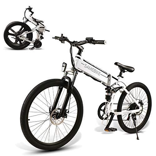 CAMTOP Bicicletas Eléctricas Plegables Adulto Ebike Bici de Montaña Hombre Mujer 26 Pulgadas 500W 48V / 10Ah Batería extraíble de Iones de Litio (Borde de radios Blanco)