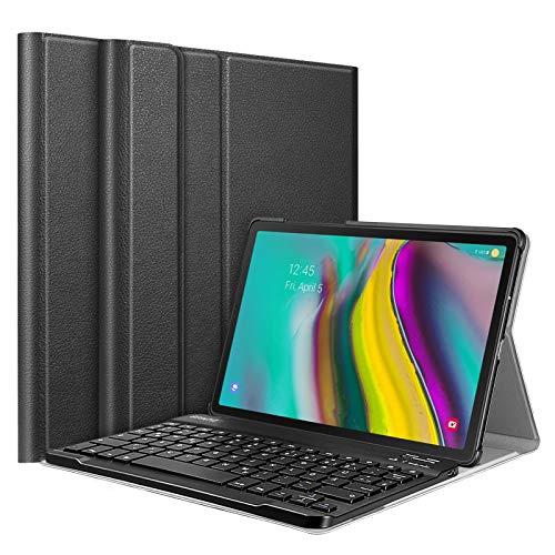 Fintie Tastatur Hülle für Samsung Galaxy Tab S5e 10.5 SM-T720/T725 2019 Tablet-PC - Ultradünn leicht Schutzhülle mit magnetisch Abnehmbarer drahtloser Deutscher Bluetooth Tastatur, Schwarz