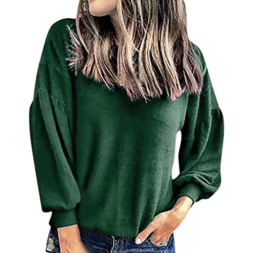Lowest Price! Women Pullover Sweatshirt Crewneck Solid Puff Sleeve T Shirt Casual Fall Blouse Top