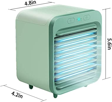 2020 Rechargeable Water-Cooled Air Conditioner Eco-Friendly,Portable Ultra-Quiet Air Conditioner Fan,Cooling Cooler Spray Humidifier with USB Dual Battery Rechargeable,for Home,Office,Travel 1Green