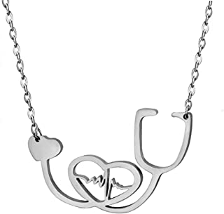 Stainless Steel Nurse Doctor Medical Stethoscope Chain Bijoux Collier EKG Heartbeat Love You Necklaces