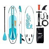 Signstek Inflatable Stand up Paddle Boards : Sup de 10 Pieds (305 à 80 cm) avec Pump de Sac à Dos à pagaie réglable Leash Fin Jeunes Adultes Standup Paddleboard (Bleu et Blanc)