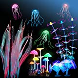 Boao 9 Pieces Aquarium Fish Tank Decorations Glowing Silicone Aquarium Ornaments Artificial Floating Jellyfish Simulation Coral Mushroom Plant Ornament for Fish Tank Accessories