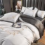 Juego De Funda NóRdica 90,Cubierta de seda de seda de hielo de verano, sábanas de cama extragrande de estilo europeo, ropa de cama de seda lavada, boda y regalos de cumpleaños-GRAMO_Hojas de 2.0m [ve