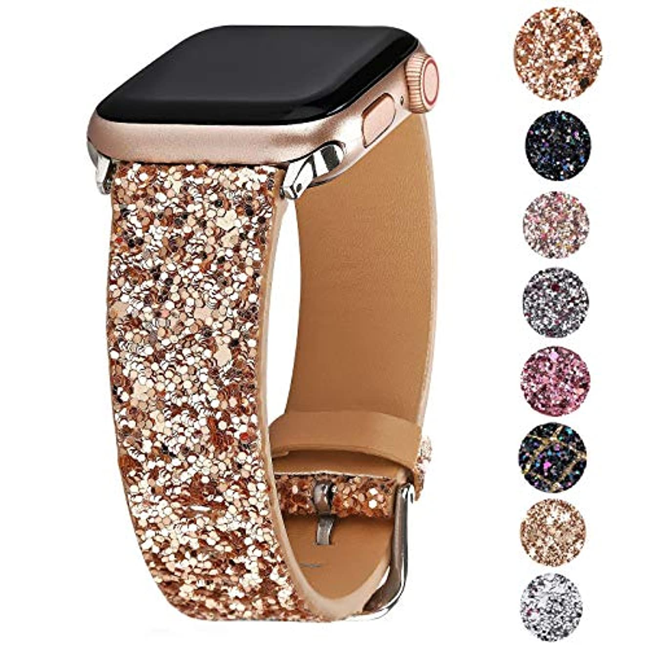 Greaciary Glitter Bling Band Compatible for iWatch Band 38mm 40mm 42mm 44mm,Leather Luxury Shiny Sparkle Strap Wristbands Women Replacement for iWatch Series 4/3/2/1