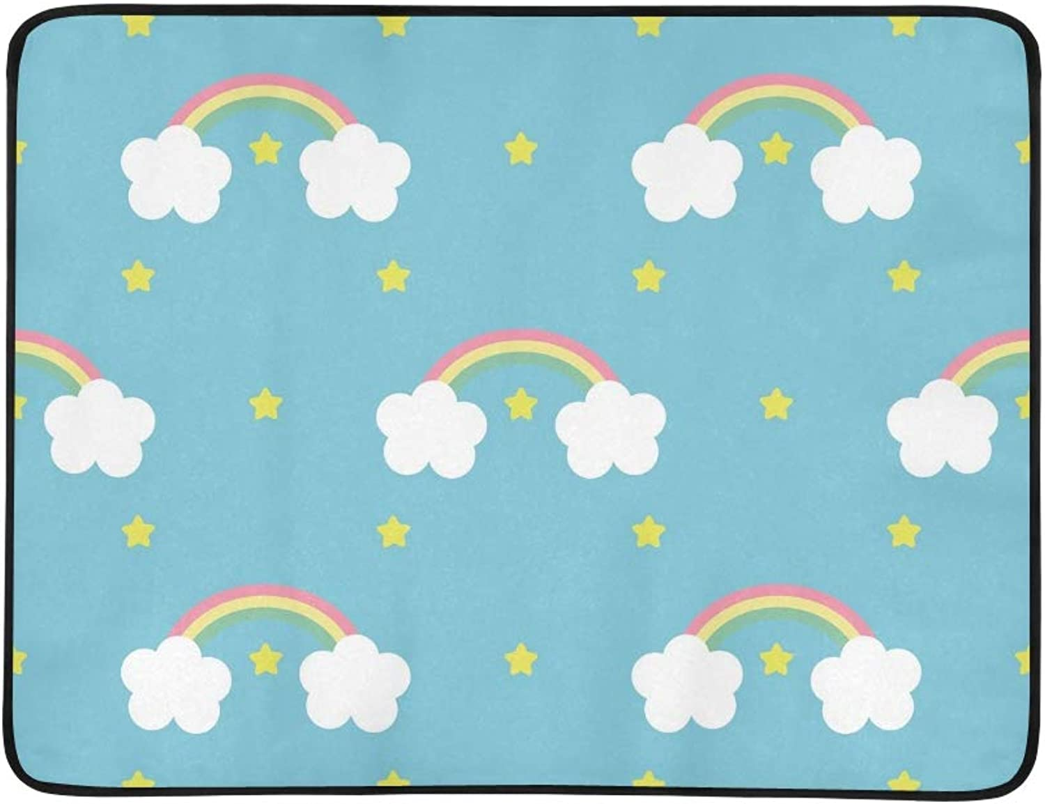 Rainbow Stars On blueee Portable and Foldable Blanket Mat 60x78 Inch Handy Mat for Camping Picnic Beach Indoor Outdoor Travel