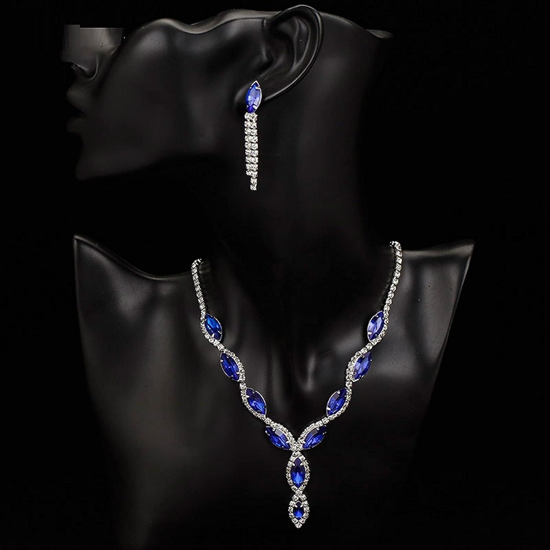 QNONAQ Wedding Jewelry Sets Elegant Royal Blue Crystal Wedding Jewelry Sets Rhinestones Long Tassel Necklace Earrings Bracelet Bridal Jewelry Sets (Metal Color : Clear)
