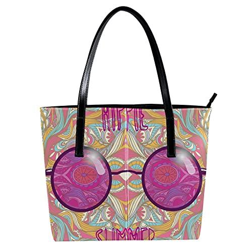 LORVIES - Gafas de sol hippie con gafas de sol de colores rosas con bandolera de piel sintética y bolsos de mano para mujer