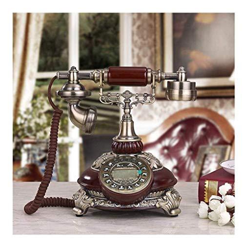 Pillowcase 123 Teléfono de Madera clásico con Tarjeta inalámbrica, teléfono Fijo de Resina Retro con Pantalla LCD, decoración de Escritorio de Oficina en casa, Madera clásica
