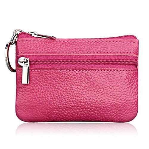 Fivekim - Llavero de piel suave para hombre y mujer, rosa y rojo, 10.7cmx7.3cm,4.21''x2.87''