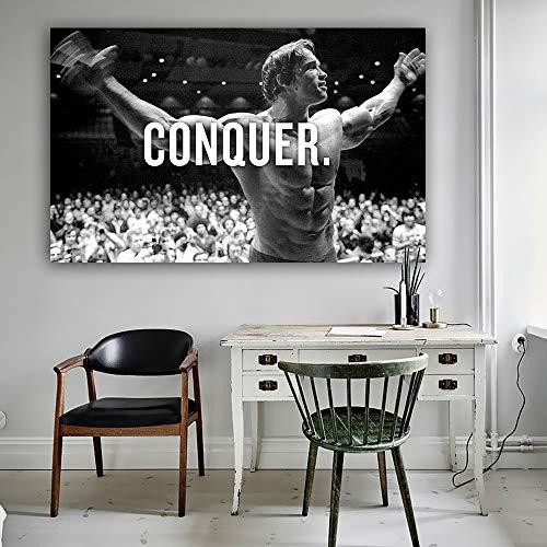 CONQUER Arnold Schwarzenegger Bodybuilding Motivationszitat Kunst Leinwand Poster Druck Wandbild für Wohnzimmer 70x116cm