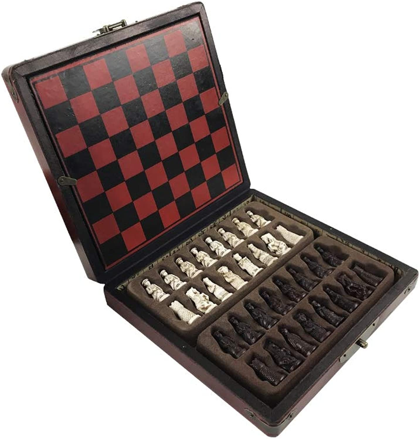 ZEYUGTIW Chess Set of Chess Wooden Coffee Table Antique Miniature Chess Board Chess Pieces Move Box Set Retro Style Lifelike