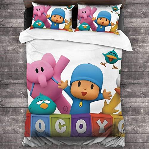 Fouryo Pocoyo Elly Pato Tv 2019 - Juego de colcha de 3 piezas, juego de cama de 86 x 70 pulgadas, funda de almohada de 20 x 30 pulgadas