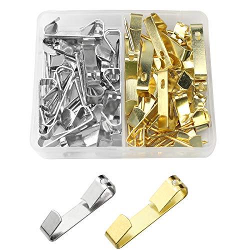Mox 40 Piezas Ganchos para Cuadros Metal Ganchos con Clavos para Colgar para Lienzo, Cuadros de Oficina, Reloj, Espejo,30 Lb(oro, plata)