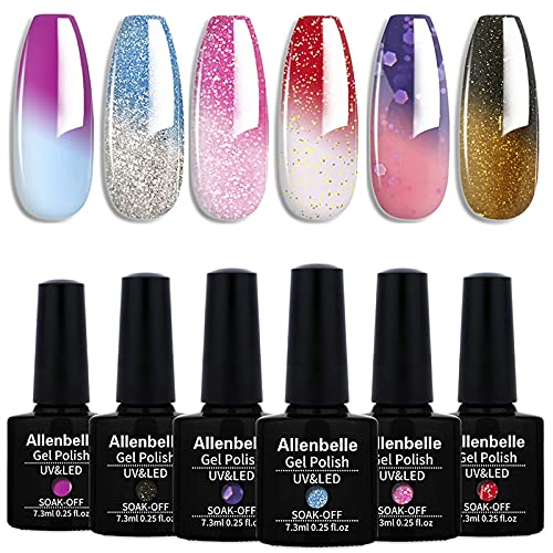 Allenbelle Smalto Semipermanente Camaleonte Nail Polish UV LED Gel Unghie (Kit di 6 pcs 7.3ML/pc) (012)