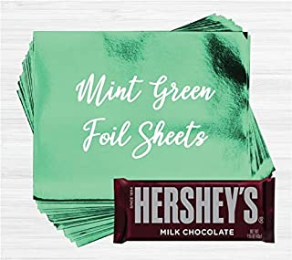 Mint Green Shiny Candy Bar Wrapper Foil Sheets for Over Wrapping Hershey's Chocolate Bars - 40 Sheets