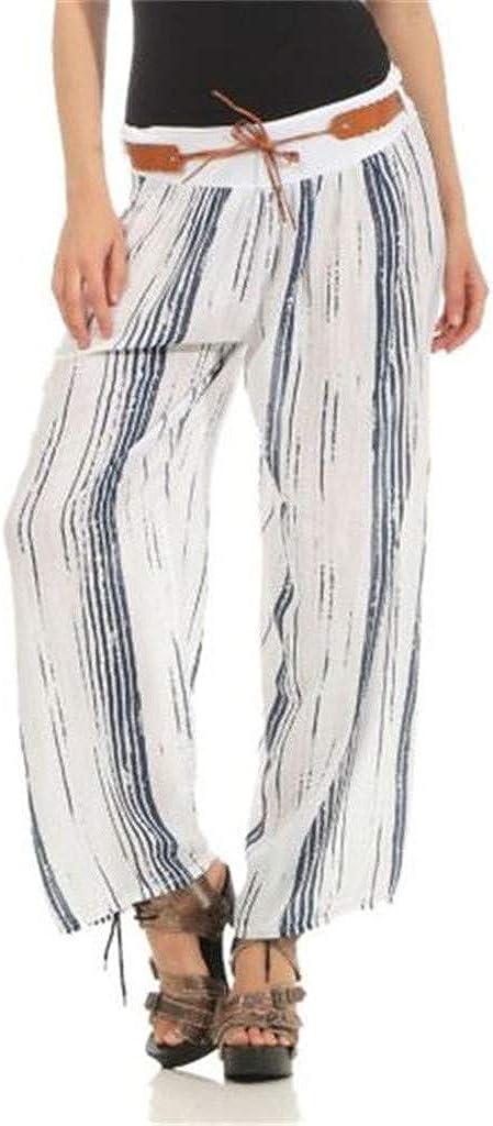 Striped Wide Leg Pants Beach Palazzo Pants Lounge Sleep Pants wodceeke Women Summer Casual Loose Trousers