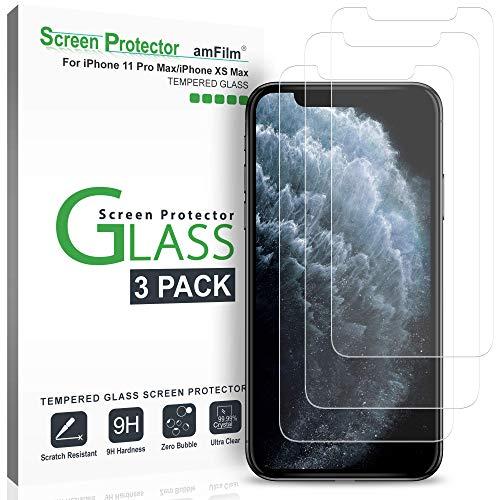 amFilm Protector de Pantalla para iPhone 11 Pro Max y iPhone XS Max (3 Piezas), Cristal Vidrio Templado Protector Pantalla para Apple iPhone 11 Pro Max y iPhone 10S Max (6.5 Pulgadas)