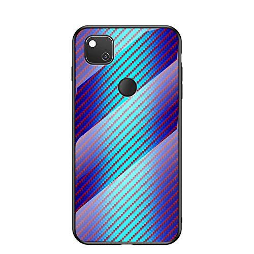 MadBee Coque pour Google Pixel 4A [avec Film de Protection écran],Coque avec Revêtement Arrière en Verre Trempé avec Modèle de Fibre + TPU Silicone Souple Anti Choc Case Cover (Bleu)