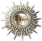 PLEASUR Dekorativer Spiegel Europäische Moderne Sonnenform Wandbehang Kamin Hängender Spiegel Restaurant Wohnzimmer Eingangsspiegel (Farbe: Antikes Silber, Größe: 71 * 71 cm)